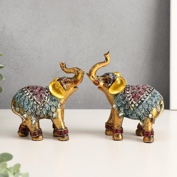 """Сувенир """"Слоны в попоне с розами"""", набор из 2-х шт - фото 797603797"""