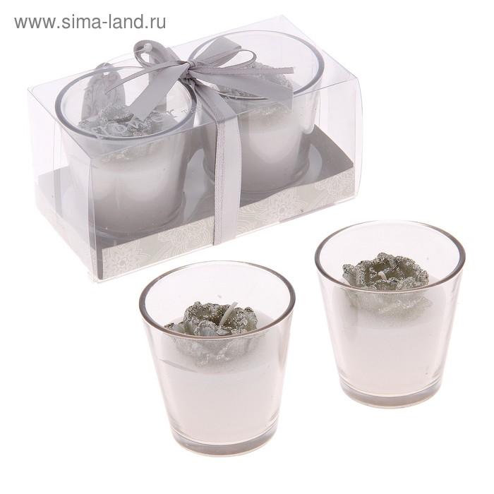 """Свечи восковые (набор 2 шт) """"Камелия"""", цвет серебро"""