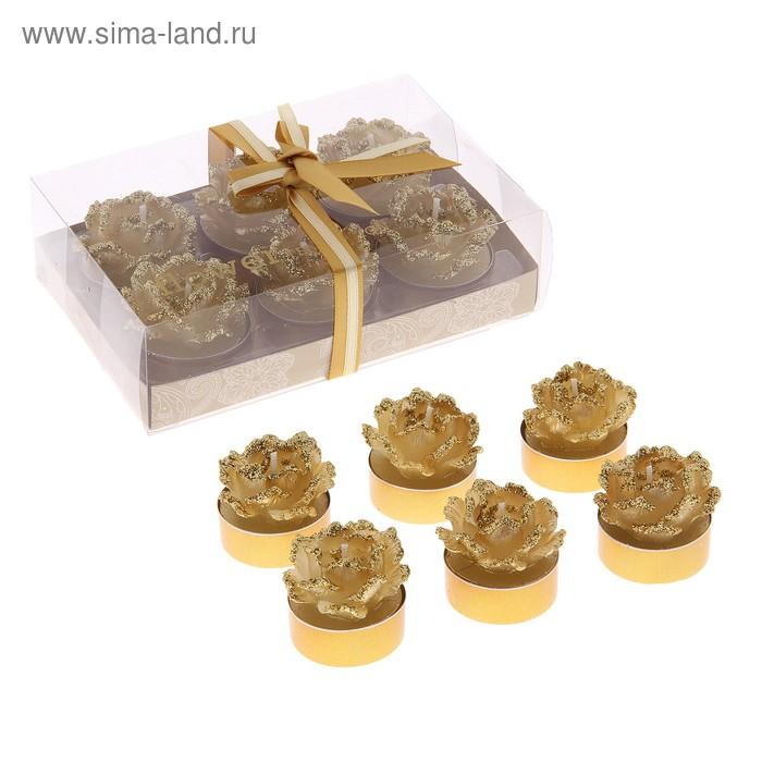 """Свечи восковые (набор 6 шт) """"Камелия"""", цвет золото"""