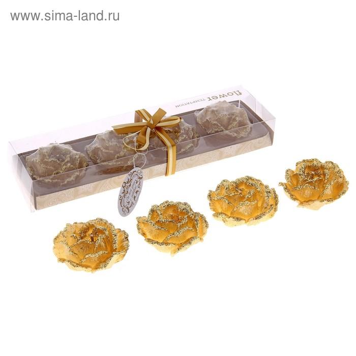 """Свечи восковые (набор 4 шт) """"Камелия"""", цвет золото"""
