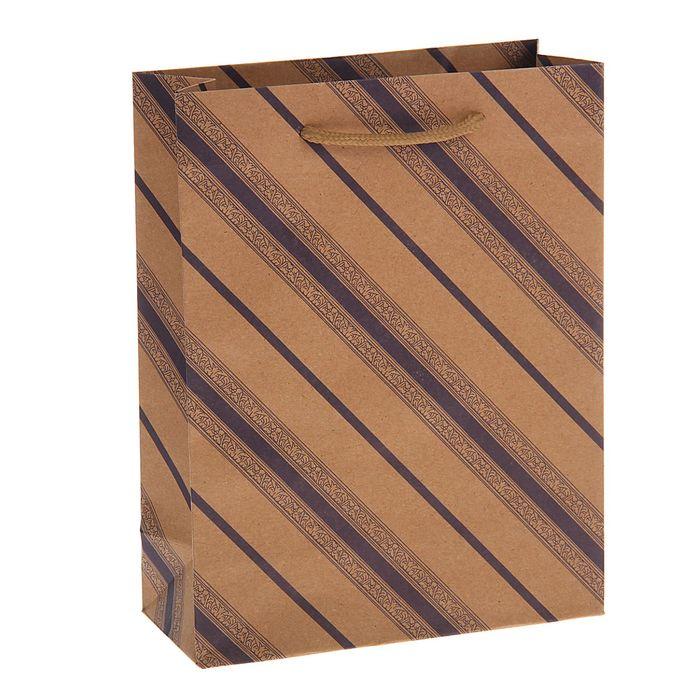 """Пакет крафт """"Сиреневые линии с узором"""", 19 х 8 х 25 см"""