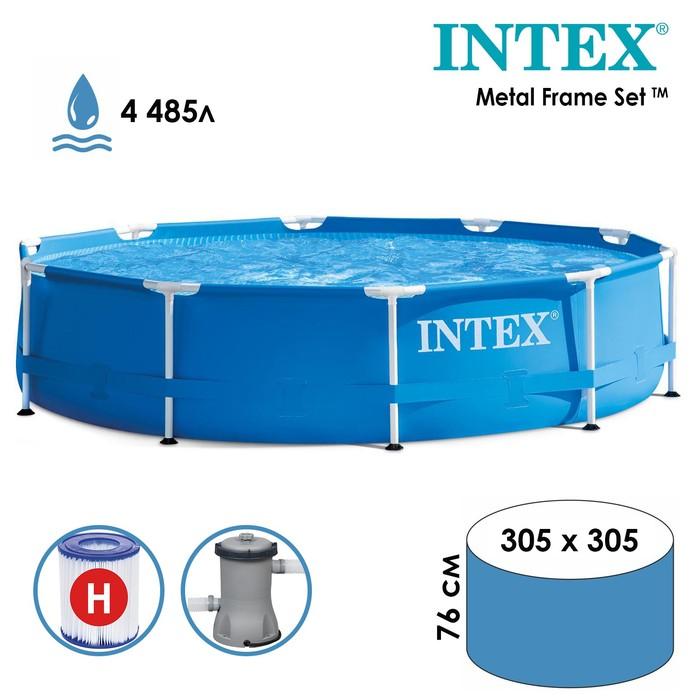 Бассейн каркасный Metal Frame Set, круглый, 305х76 см, насос с фильтром 220 В 28202 INTEX
