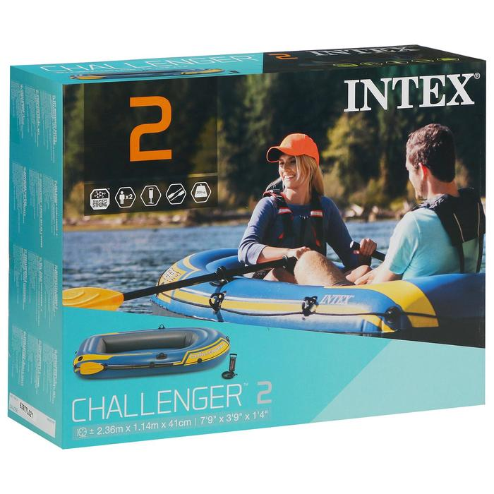 Лодка Challeneger 2, 2х-местн., 236х114х41 см (весла, насос), до 200 кг 68367NP INTEX