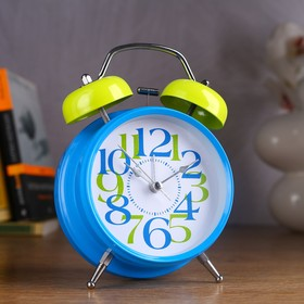 "Alarm clock ""Good morning"", d=11.5 cm, blue, large figures"
