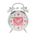 "Alarm clock, ""Heart in a box"", d=11.5 cm, chrome"