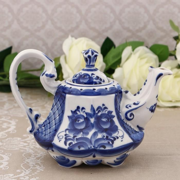 Кофейник «Цветы», H=16 см, гжель - фото 533841