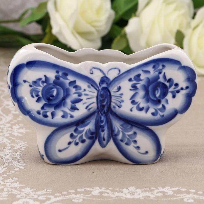 Салфетница «Бабочка», 17х11,5 см, гжель