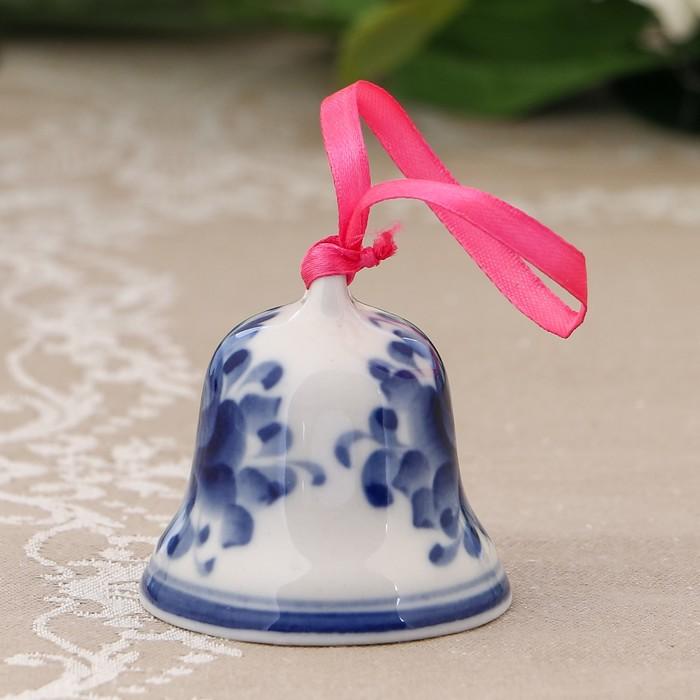 Колокольчик «Цветы», с лентой, малый, H=5,5 см, гжель