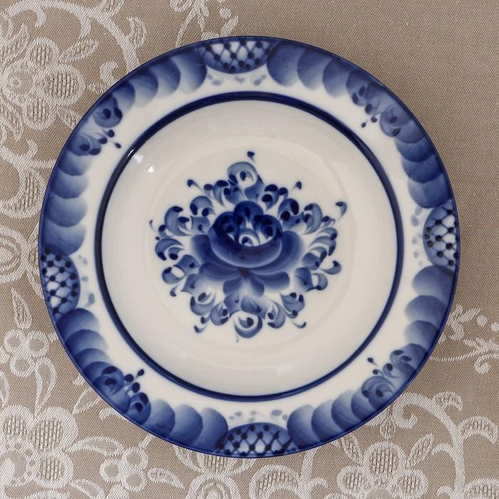 Тарелка «Цветы», глубокая, D=20 см, H=4 см, гжель