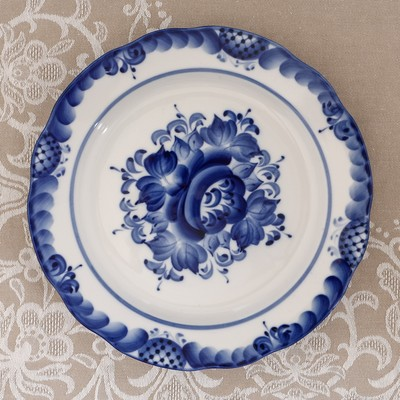 Тарелка «Цветы», плоская, D=24 см, H=2 см, гжель