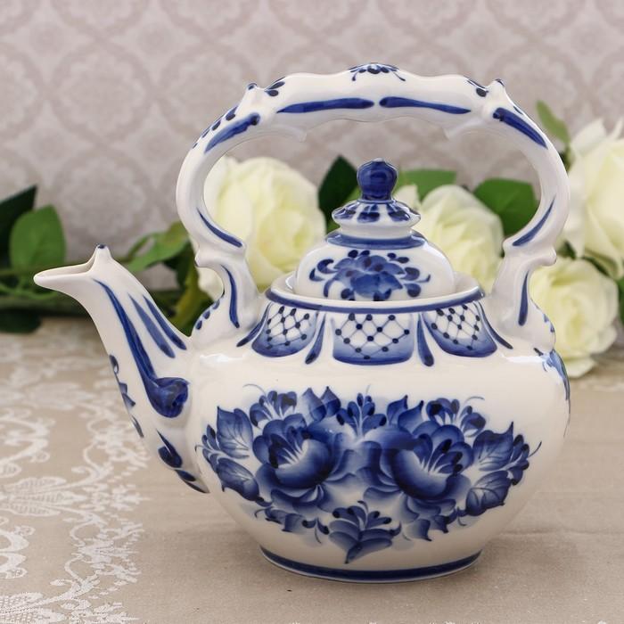 Чайник «Вдохновенье», H = 21 см, гжель