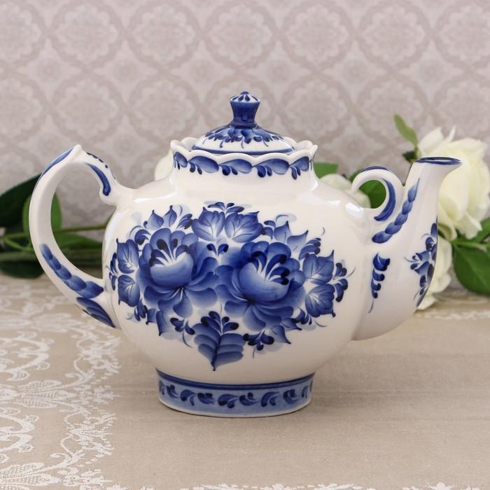Чайник «Семейный», H=19 см, 2,1 л, гжель
