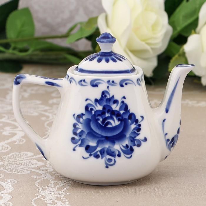 Чайник «Серж», H=12,5 см, гжель