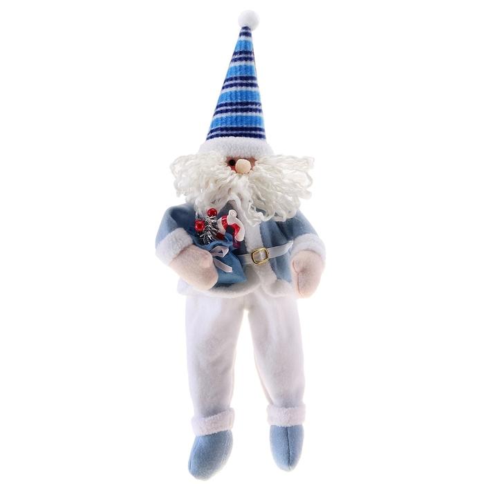 """Мягкая игрушка """"Дед Мороз со сладостями"""" (синий колпак)"""