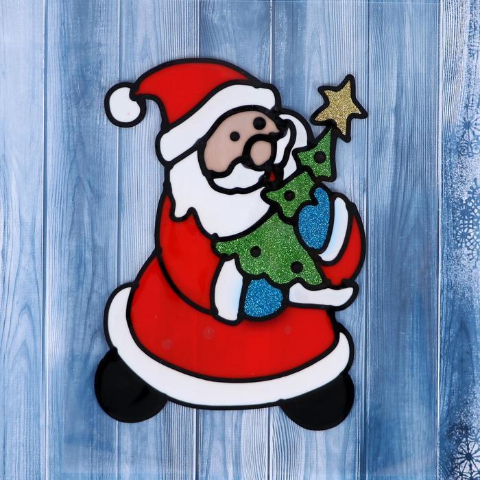 """Наклейка на стекло """"Дед Мороз с нарядной ёлочкой"""""""