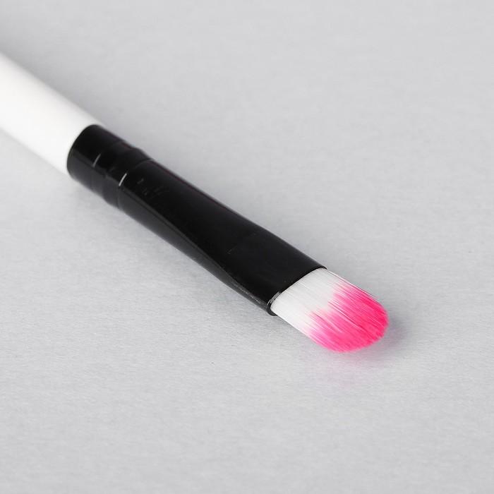 Кисть для макияжа/теней, с аппликатором, двусторонняя, скошенная, цвет чёрный/белый