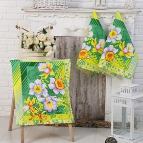 Набор полотенец Утренние цветы 50х60см-3шт (коробка), вафля, хлопок 100%, 170г/м2