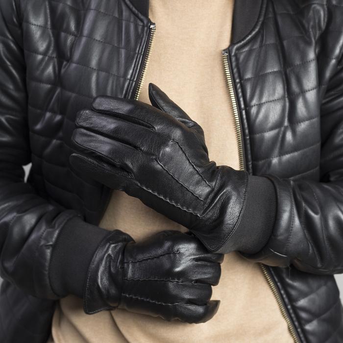Перчатки женские, р-р 6-6,5, подклад - нейлон, темно-коричневый