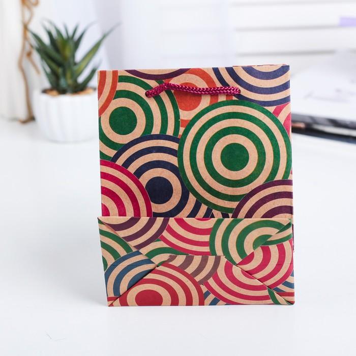 """Пакет крафт """"Цветные круги"""", 12 х 5,5 х 15,5 см"""