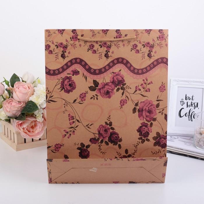 """Пакет крафт """"Розы"""", 31,5 х 9,5 х 41,5 см"""