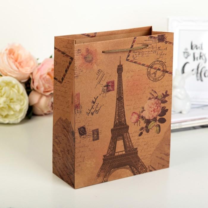 """Пакет крафт """"Париж"""", 19 х 8 х 25 см"""