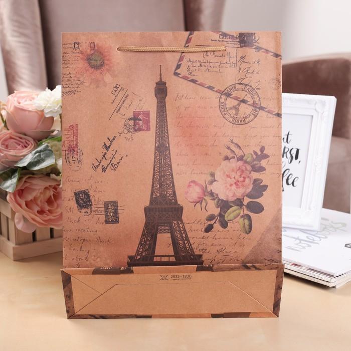 """Пакет крафт """"Париж"""", 23 х 8,5 х 32 см"""