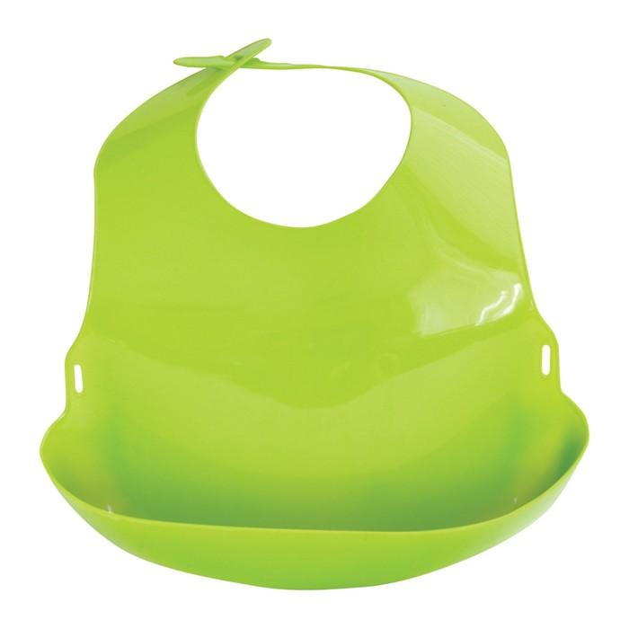 Нагрудник пластиковый «С отворотом», от 6 мес., цвета МИКС