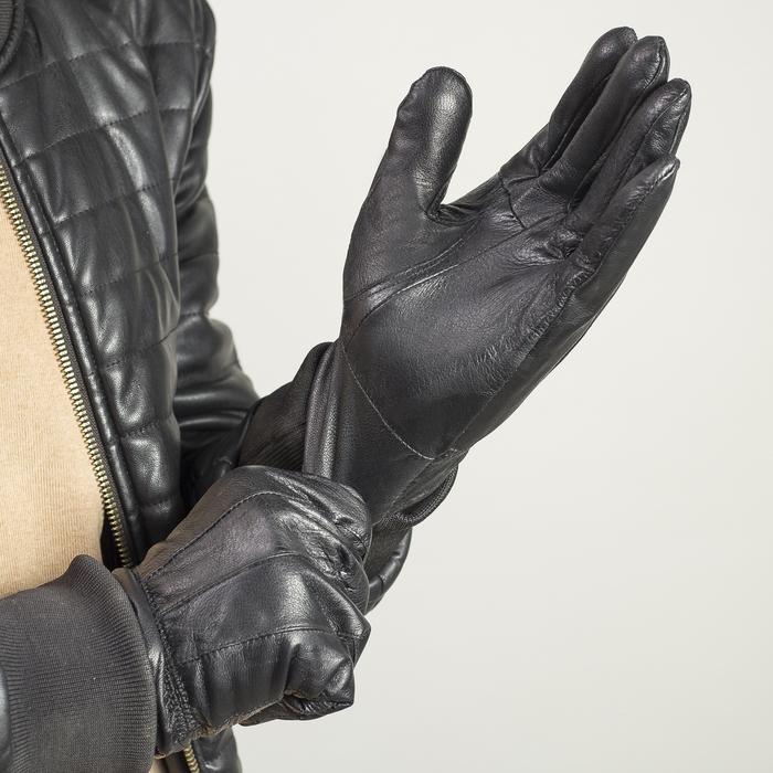 Перчатки мужские, строчка зигзаг, с флисовым подкладом, р-р 11, длина-25см, черные