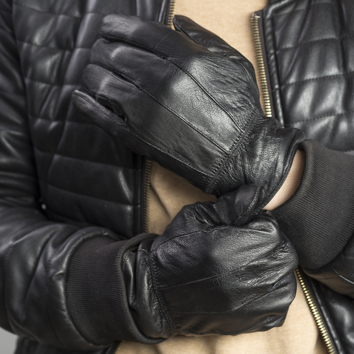 Перчатки мужские, строчка зигзаг, с флисовым подкладом, р 11,5, L - 25, черные