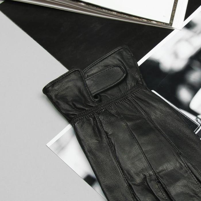 Перчатки мужские, строчка зигзаг, на липучке, с флисовым подкладом, р-р 10,5, длина-25см, черные