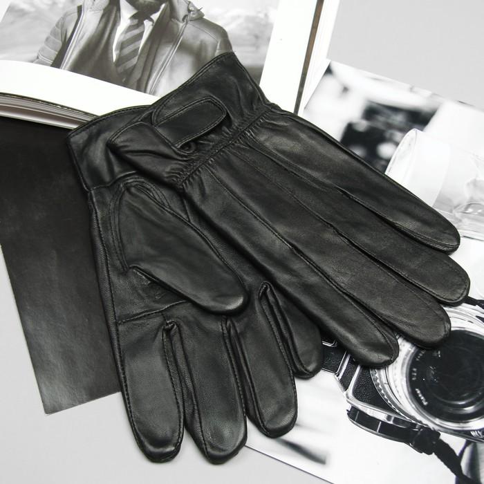 Перчатки мужские, строчка зигзаг, на липучке, с флисовым подкладом, р 11, L - 25, черные