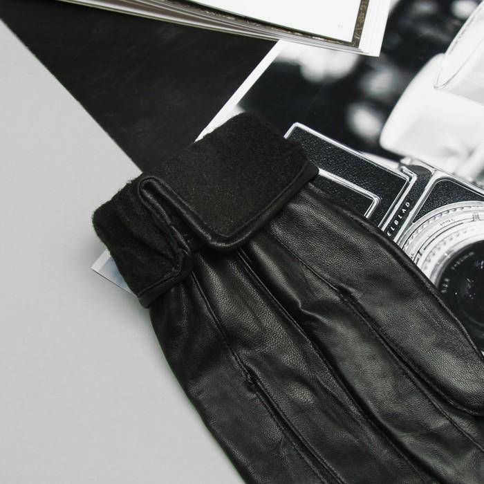 Перчатки мужские, строчка зигзаг, на липучке, с флисовым подкладом, р-р 11,5, длина-25см, черные