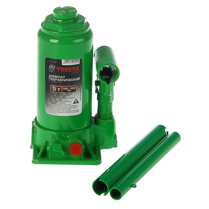 Домкрат гидравлический бутылочный TUNDRA basic 5 т, высота подъема 185-355 мм