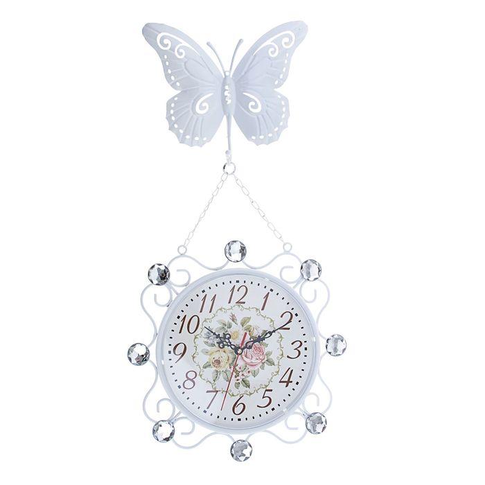 """Часы настенные двусторонние """"Серия Ретро. Белая бабочка"""" на подвесе, d=23 см, микс"""