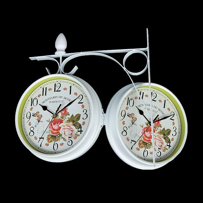 """Часы настенные двусторонние """"Солнечный день"""" на подвесе, d=17 см, белые"""
