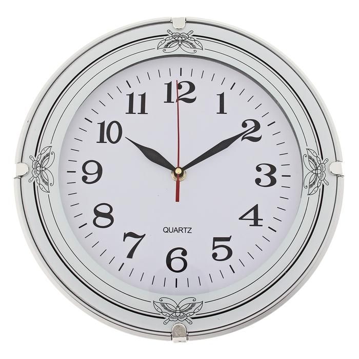 """Часы настенные круглые """"Серия Black. Бабочки на канте"""", d=30 см, белые"""