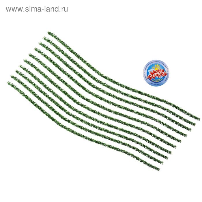 Проволока с ворсом для поделок и декорирования (набор 10 шт), цвет зеленый блеск