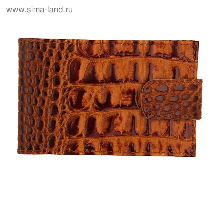 Визитница на кнопке, 1 ряд, 18 листов, коричневый кайман