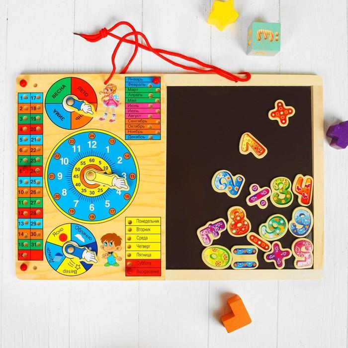 """Рамка-вкладыш """"Календарь"""" с часами, магнитной доской, цифрами и знаками"""
