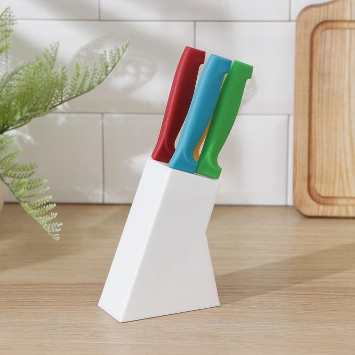 Набор кухонных ножей «Радуга», 4 предмета, на подставке, разноцветный