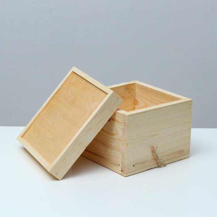 Кашпо подарочное 19×19×14 см деревянное, с крышкой - фото 861582