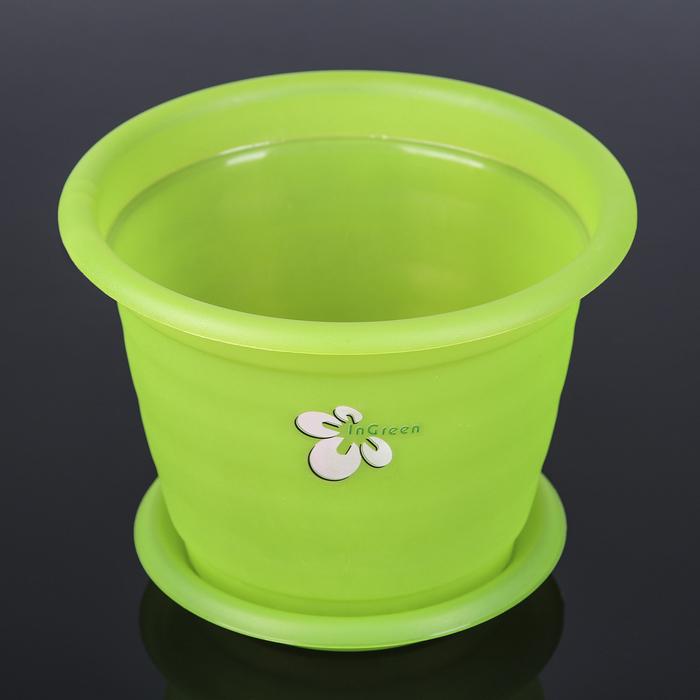 """Горшок для орхидеи d=19 см """"Элегант"""", с поддоном, цвет прозрачно-зеленый"""