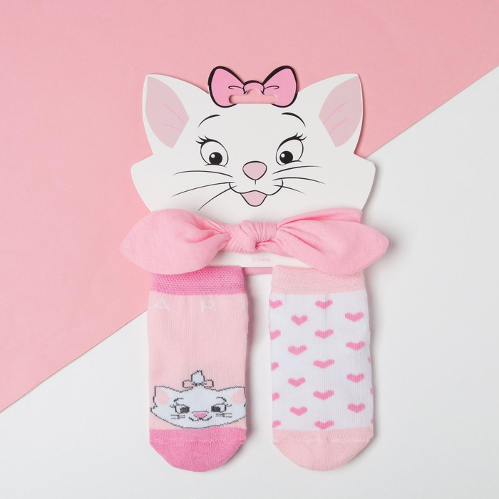 "Набор ""Мари"", Коты аристократы, повязка, носки 2 пары р.10-12 см - фото 2536479"