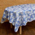 """Скатерть """"Ромашки на голубом"""", размер 152х152 см, пвх на флизелиновой основе"""