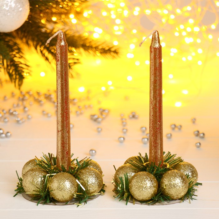 "Подсвечники со свечами ""Шарики"" (набор 2 шт.) микс"