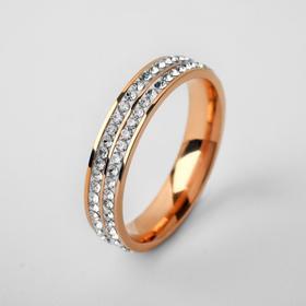 """Кольцо """"Прелесть"""" две дорожки, размер 18, цвет белый в золоте"""