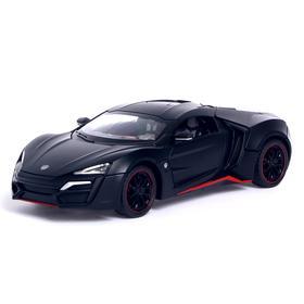 Машина металлическая «ГиперКар», открываются двери, капот, багажник, инерция, цвет чёрный