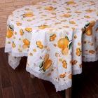 """Скатерть с кружевом """"Апельсины"""" 137*183 см, пвх на флизелиновой основе"""