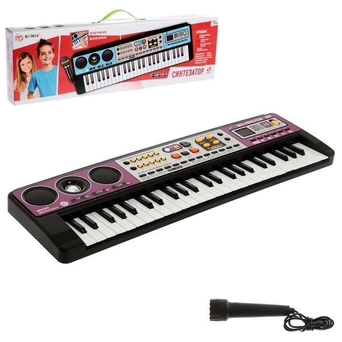 """Синтезатор """"Музыкальный взрыв"""", 49 клавиш c USB, работает от батареек"""