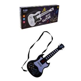 Гитара с ремешком, музыкальная, световые эффекты, работает от батареек